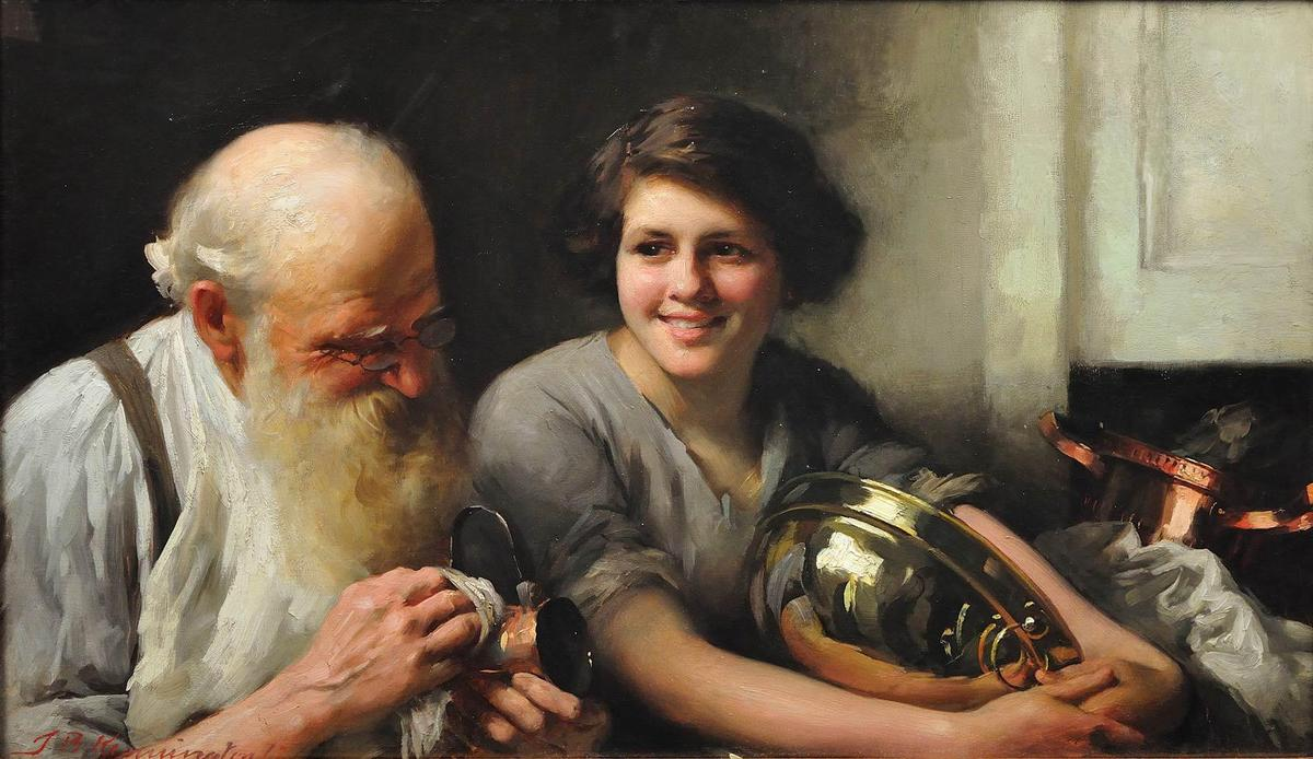 一个 快乐的心脏 goes 一个 long  方法, 1912 通过 Thomas Benjamin Kennington (1856-1916, United Kingdom)