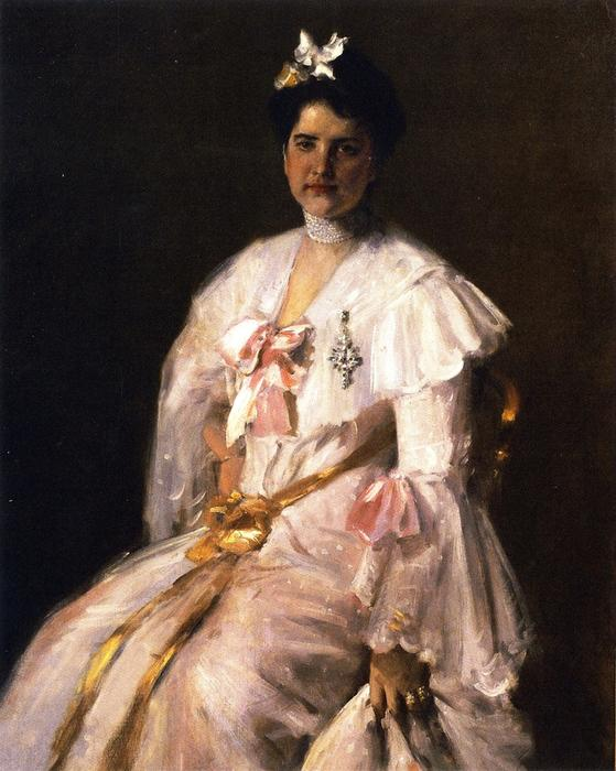 太太 . 追逐 ( 也被称为 夫人的画像 . 追逐 , 夫人的画像 . C . ), 油画 通过 William Merritt Chase (1849-1916, United States)