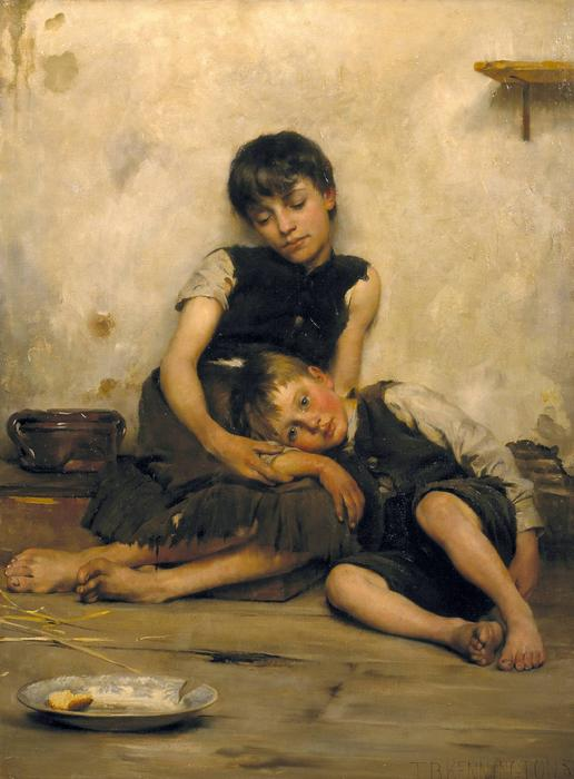 孤儿, 油画 通过 Thomas Benjamin Kennington (1856-1916, United Kingdom)
