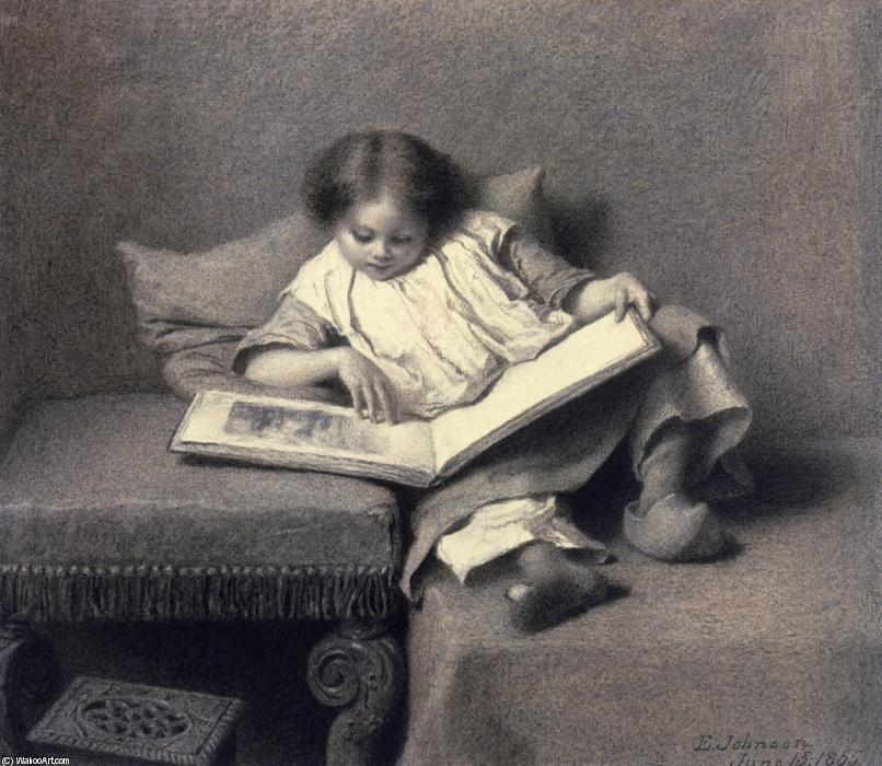 图片  书, 绘画 通过 Jonathan Eastman Johnson (1824-1906, United Kingdom)