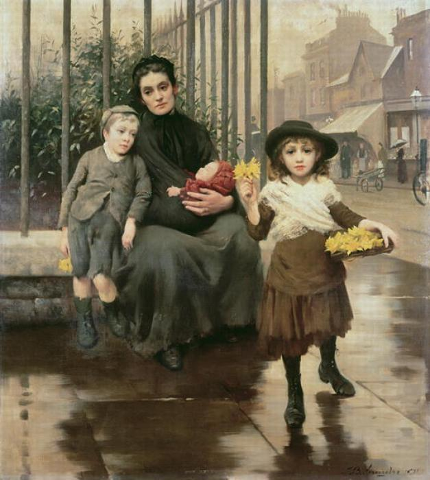 贫困捏, 1891 通过 Thomas Benjamin Kennington (1856-1916, United Kingdom)
