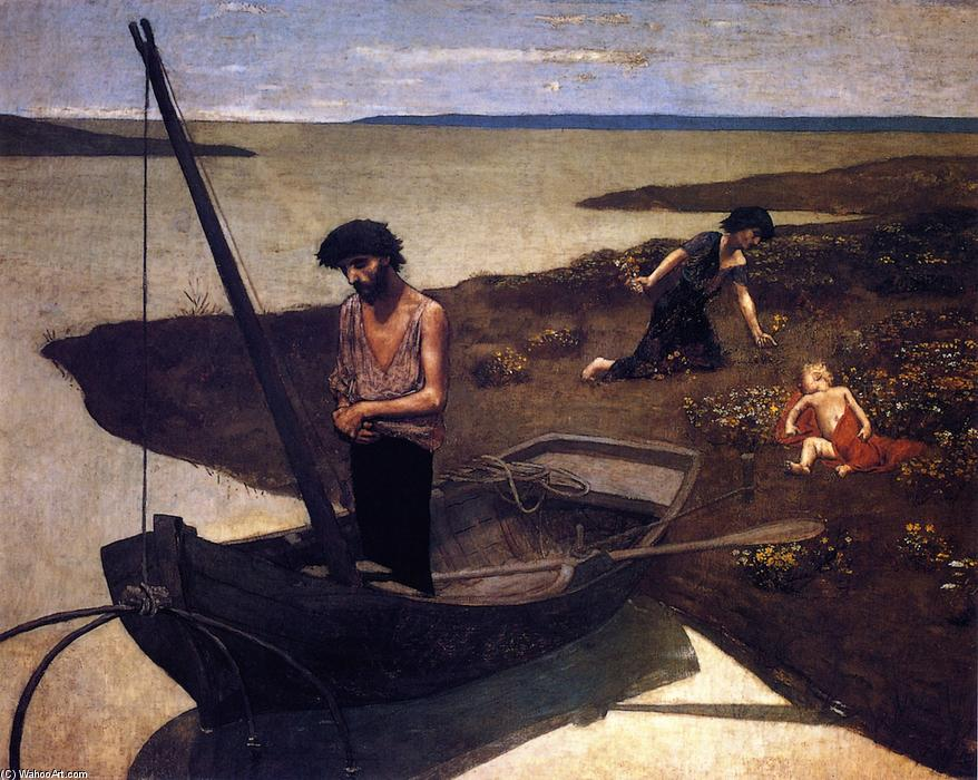 穷人的渔夫, 油画 通过 Pierre Puvis De Chavannes (1824-1898, France)