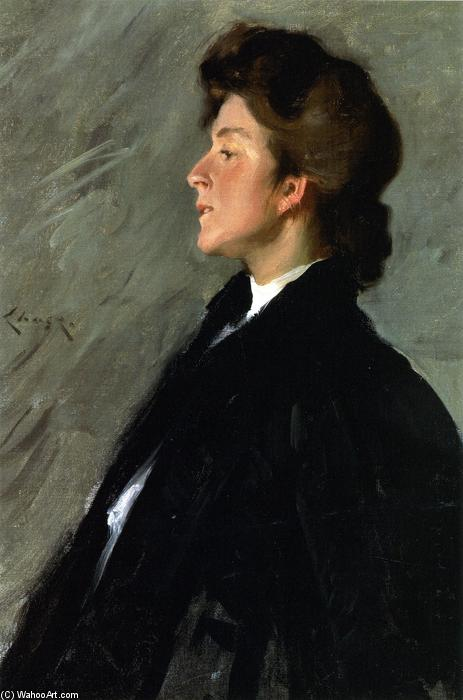 肖像Bellemy小姐(又称Bellemy小姐)的, 油画 通过 William Merritt Chase (1849-1916, United States)
