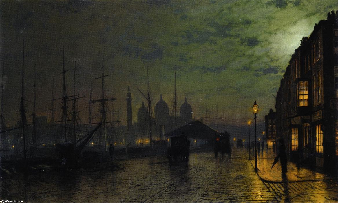 王子码头,船体, 壁画 通过 John Atkinson Grimshaw (1836-1893, United Kingdom)