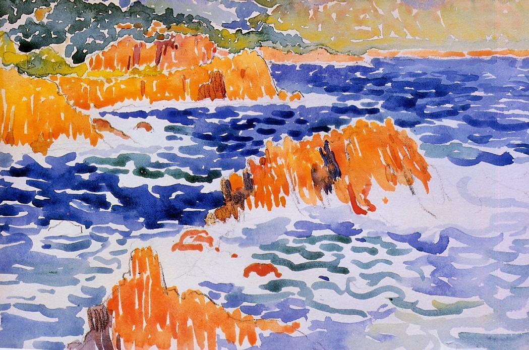 岩石Trayas, 水彩 通过 Henri Edmond Cross (1856-1910, France)