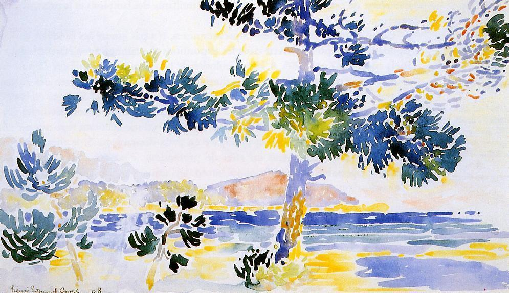 Saint-Clair 风景, 水彩 通过 Henri Edmond Cross (1856-1910, France)