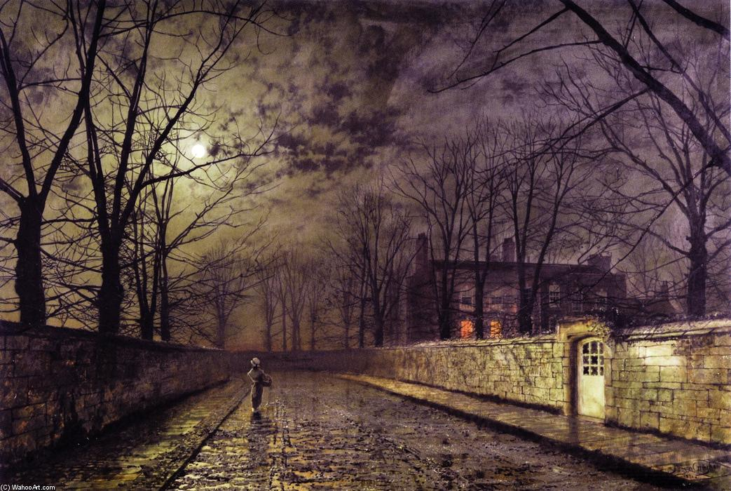 银色 月光, 布面油画 通过 John Atkinson Grimshaw (1836-1893, United Kingdom)