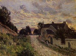 Alfred Sisley - 一条小街上Louveciennes的