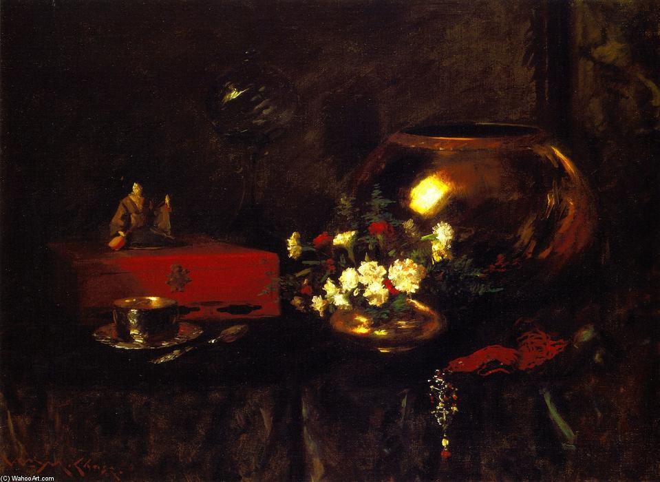 静物 - 黄铜碗, 油画 通过 William Merritt Chase (1849-1916, United States)
