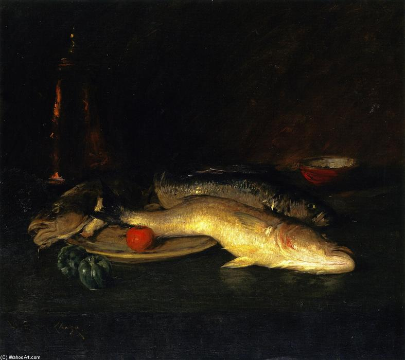静物 鱼儿 , 油画 通过 William Merritt Chase (1849-1916, United States)