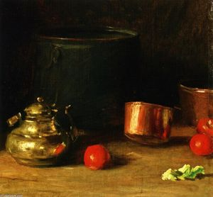 William Merritt Chase - 静物与铜水壶