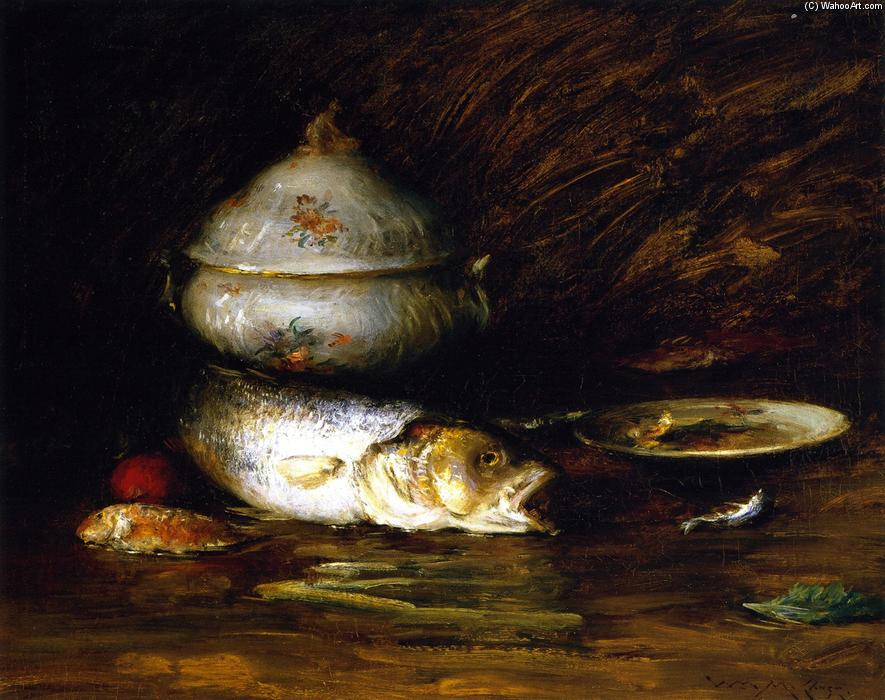 静物  与 鱼儿, 油画 通过 William Merritt Chase (1849-1916, United States)