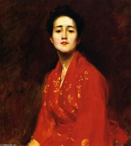 William Merritt Chase -  研究 女孩  在  日本  礼服