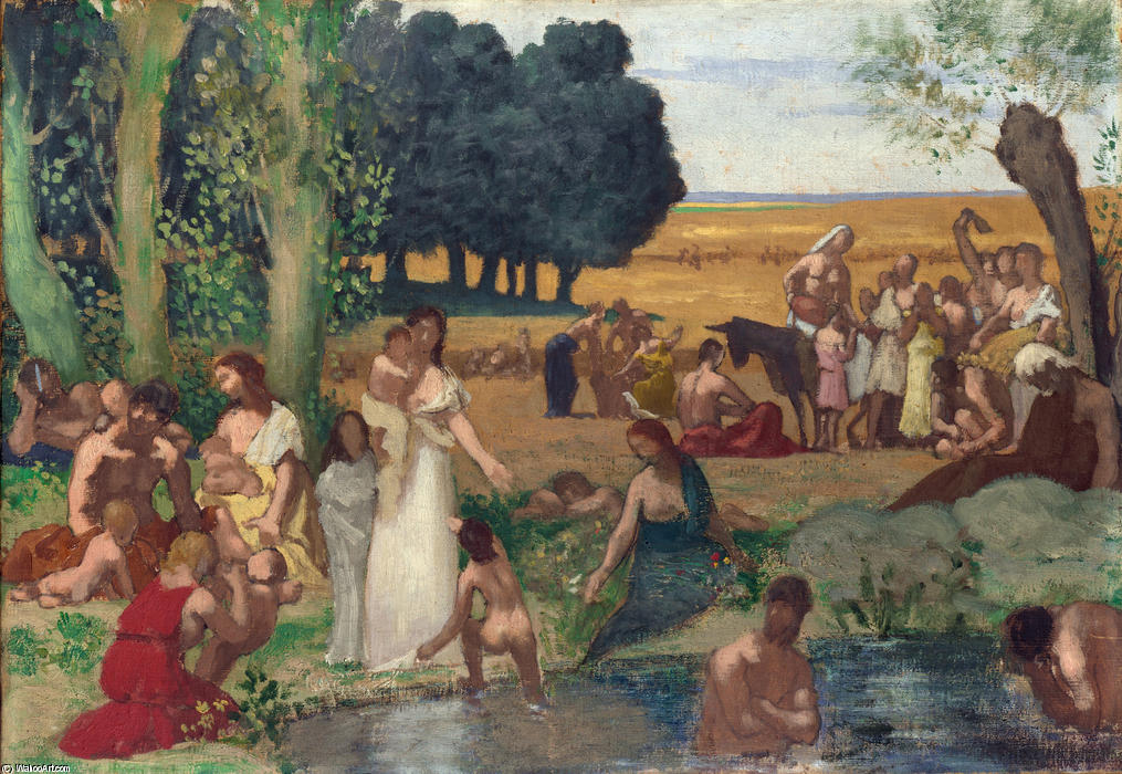 夏 通过 Pierre Puvis De Chavannes (1824-1898, France)