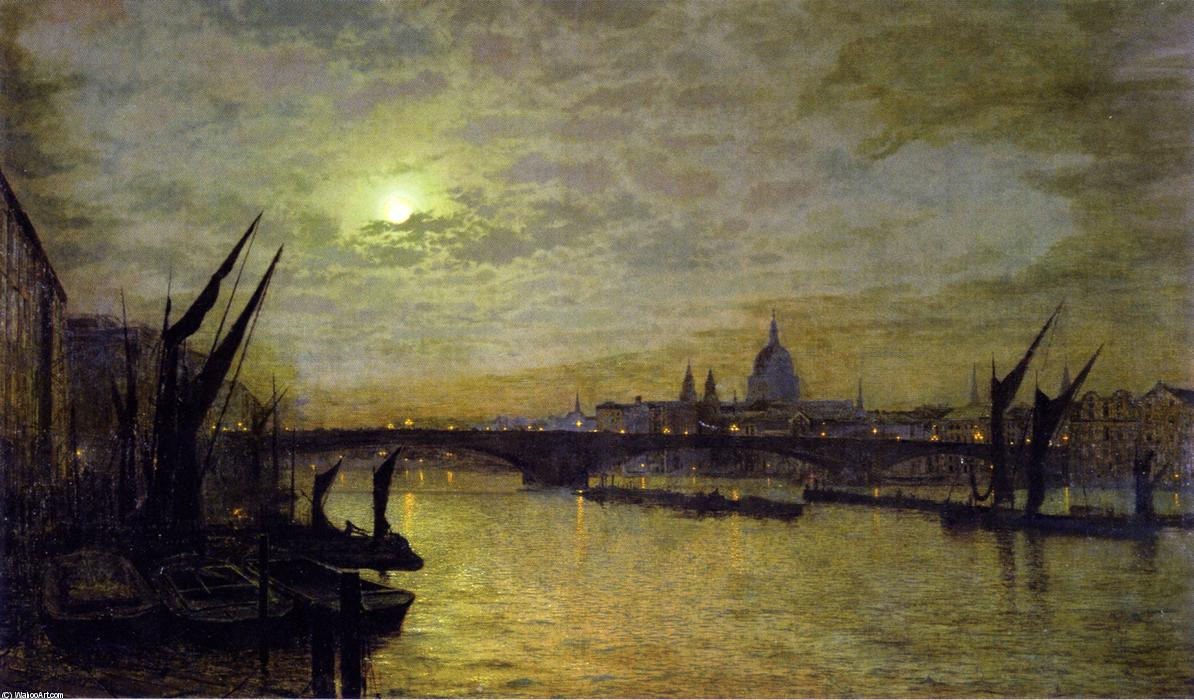 泰晤士月光与南华Bridtt, 油画 通过 John Atkinson Grimshaw (1836-1893, United Kingdom)