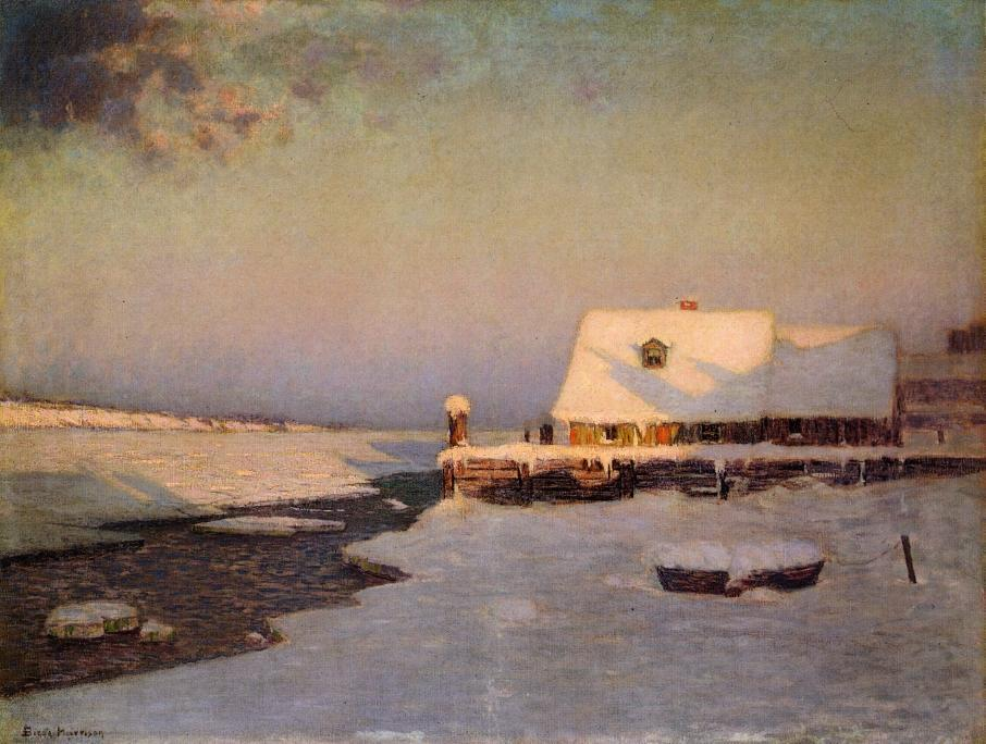 暮光之城的冬天, 油画 通过 Lowell Birge Harrison (1854-1929, United States)