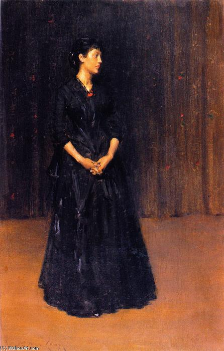 女性 在  黑色, 油在面板上 通过 William Merritt Chase (1849-1916, United States)