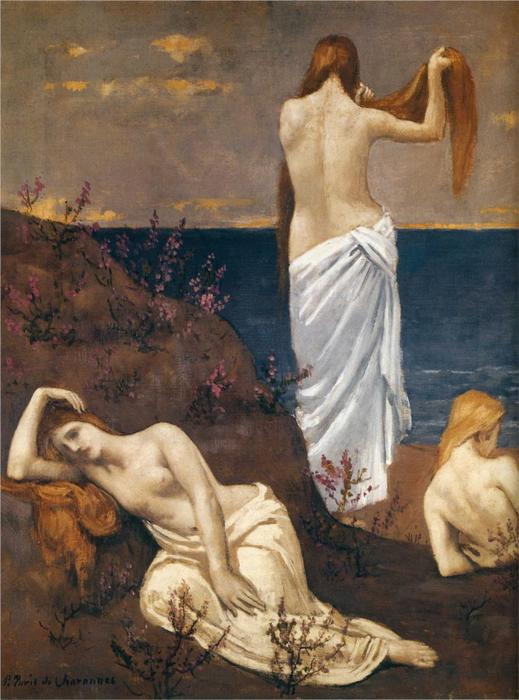 年轻 女孩  由 海, 1894 通过 Pierre Puvis De Chavannes (1824-1898, France)