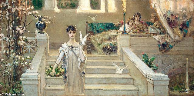 罗马的美丽,鸽子 通过 Vasily Alexandrovich Kotarbinsky (1863-1921, Russia) | 畫複製 Vasily Alexandrovich Kotarbinsky | ArtsDot.com
