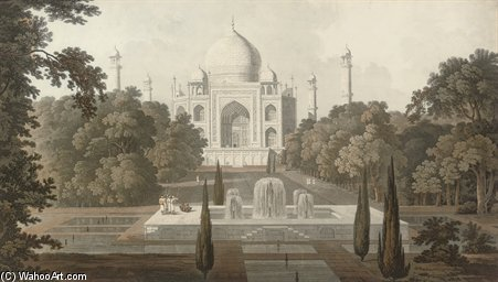 该Taje Mahel,花园景观,阿格拉 通过 Thomas And William Daniell (1769-1837, United Kingdom)