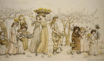 春天 通过 Kate Greenaway (1846-1901, United Kingdom)