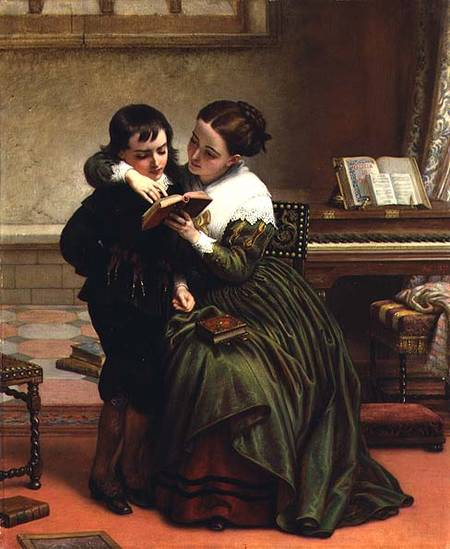 George Herbert  和他的 母亲 通过 Charles West Cope (1811-1890, United Kingdom) | ArtsDot.com