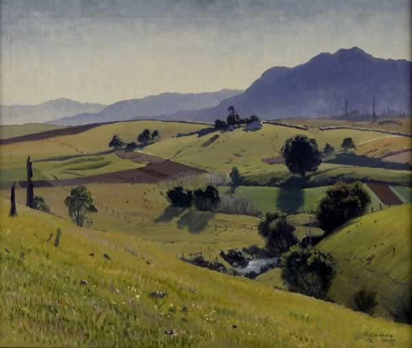 冬天的下午 通过 Elioth Gruner (1882-1939, New Zealand)