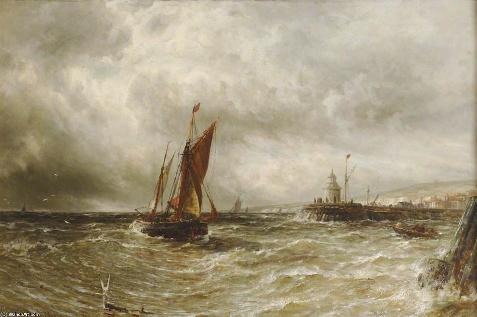钓鱼 船  关闭 Gorleston 海港 通过 Gustave De Breanski (1856-1898, United Kingdom)