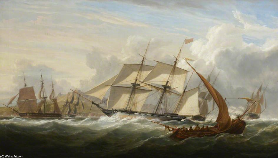 "HMS""耧""等船舶里斯本关 通过 John Christian Schetky (1778-1874, United Kingdom) 