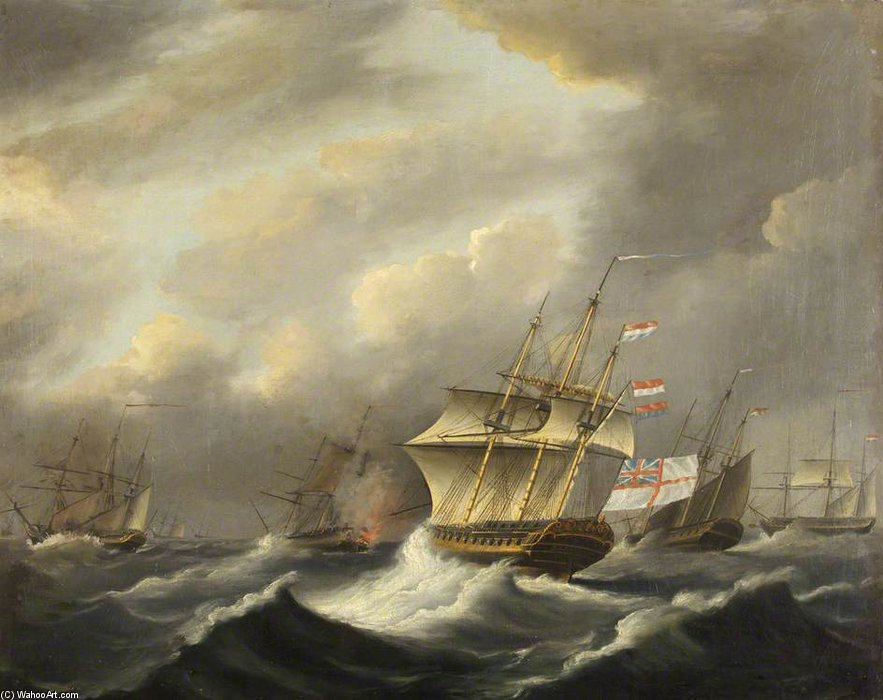 "HMS""代达罗斯"" 通过 Thomas Buttersworth (1768-1842, United Kingdom) 