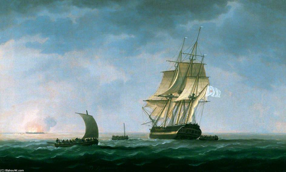 Hms 'hindostahn' 着火 , 罗萨斯 海湾 通过 Thomas Buttersworth (1768-1842, United Kingdom)