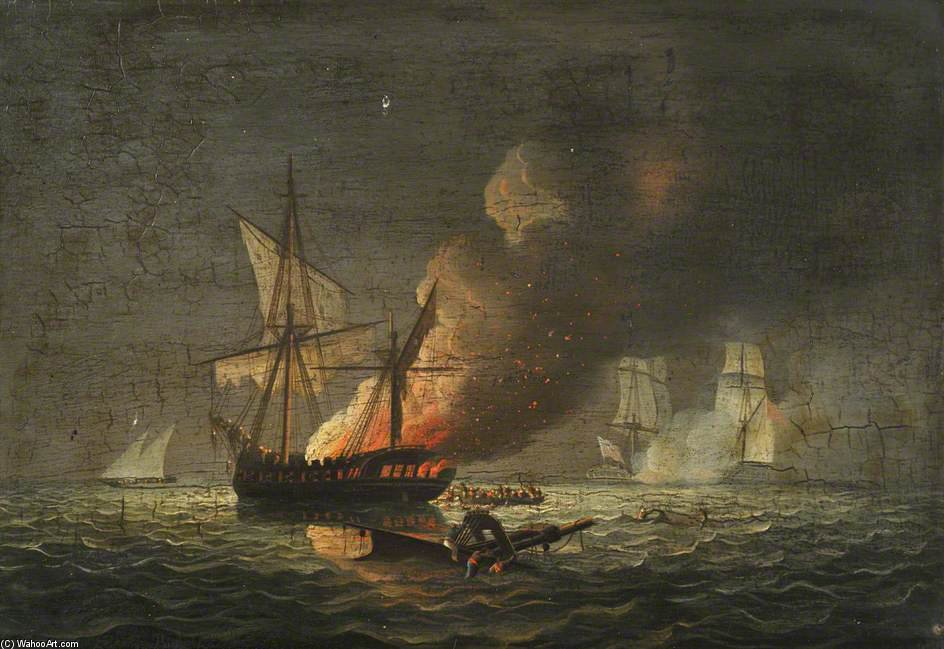 "HMS 海马 捕捉 badiri-I-zaffer"" 通过 Thomas Buttersworth (1768-1842, United Kingdom)"