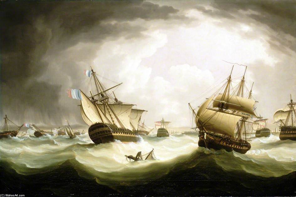 战斗 TRAFALGAR , 的末端 行动 通过 Thomas Buttersworth (1768-1842, United Kingdom)