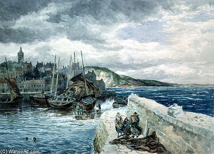 Pittenweem,法伊夫 通过 Samuel Bough (1822-1878, United Kingdom)