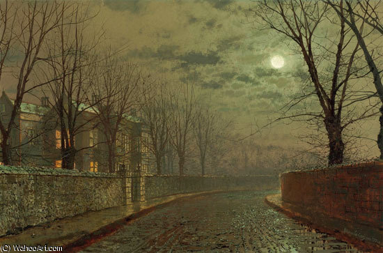 银白的月光 通过 John Atkinson Grimshaw (1836-1893, United Kingdom)