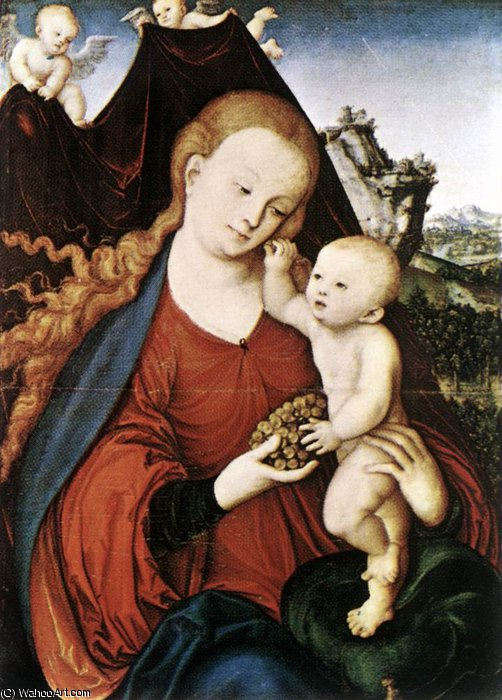 麦当娜和儿童 通过 Lucas Cranach The Elder (1472-1553, Germany)
