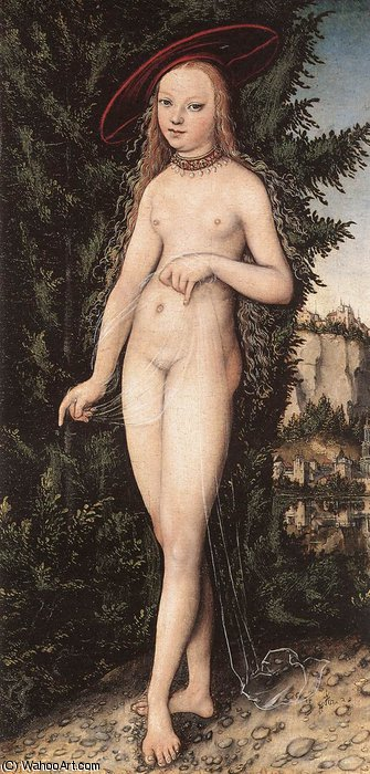 金星站在景观 通过 Lucas Cranach The Elder (1472-1553, Germany)