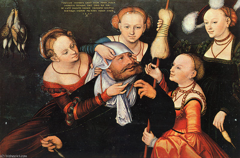 大力神与onfale,, 1537 通过 Lucas Cranach The Elder (1472-1553, Germany)