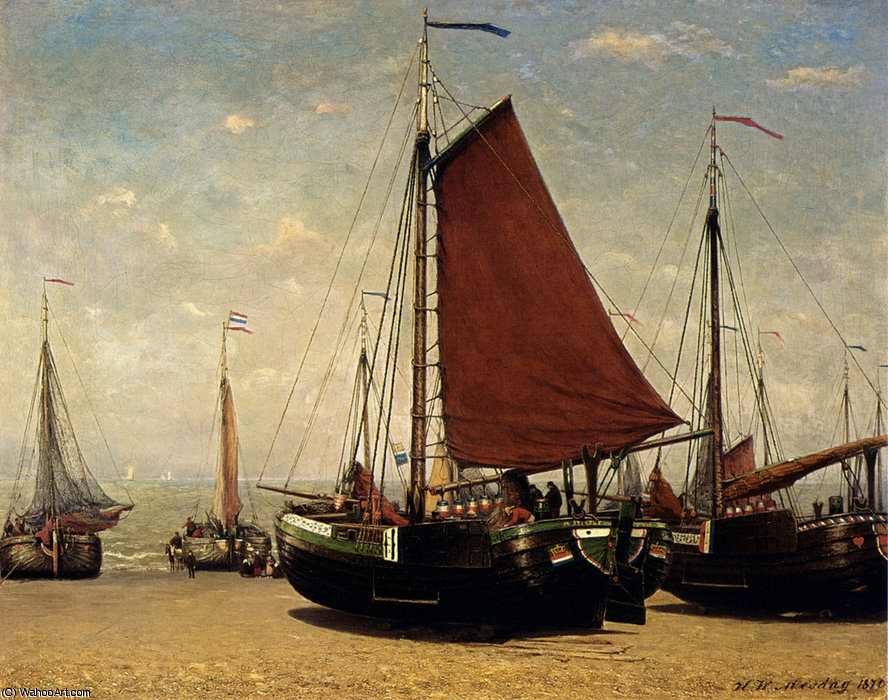 在海滩上斯海弗宁恩的bomschuit prinses苏菲 通过 Hendrik Willem Mesdag (1831-1915, Netherlands)