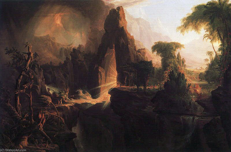 从伊甸园驱逐 通过 Thomas Cole (1801-1848, United Kingdom)