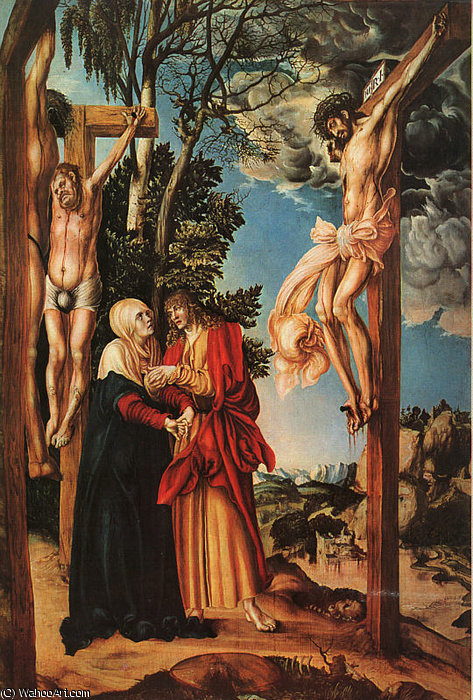的  被钉十字架, 松树  面板, `pinakothek` a, 1503 通过 Lucas Cranach The Elder  (顺序 美術 油畫 Lucas Cranach The Elder)