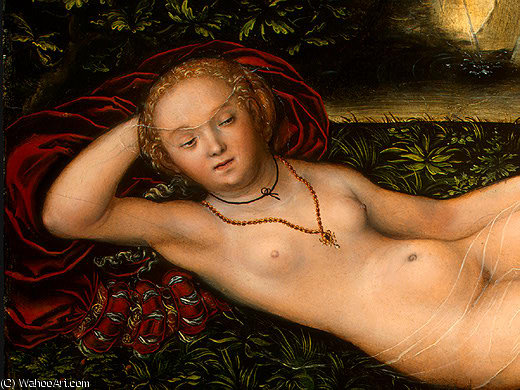 仙女  的 春天 , detalj后 - ( 1 , ), 1537 通过 Lucas Cranach The Elder (1472-1553, Germany)