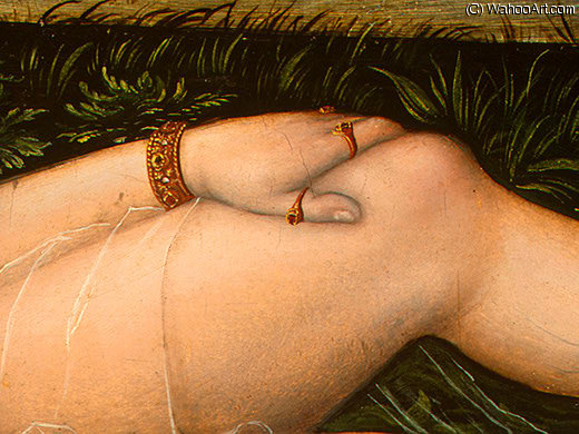 仙女  的 春季 , detalj后 - ( 4 , ), 1537 通过 Lucas Cranach The Elder (1472-1553, Germany)