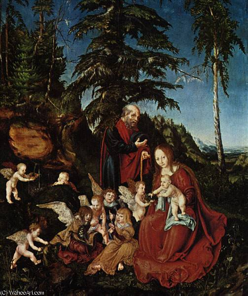 在飞往埃及,Staatlic休息, 1504 通过 Lucas Cranach The Elder (1472-1553, Germany)