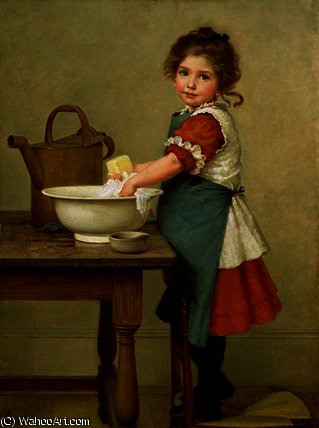他  是  方法  我们 清洗 `our`  衣服 通过 George Dunlop Leslie (1835-1921, United Kingdom)