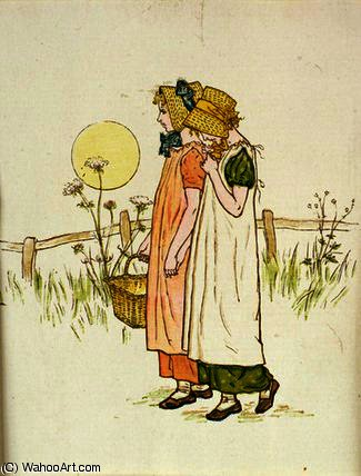 累 , 从 'A 一天 一个 Child's Life' 通过 Kate Greenaway (1846-1901, United Kingdom)
