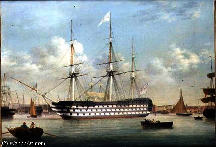 HMS不列颠躺在离普利茅斯 通过 Thomas Buttersworth (1768-1842, United Kingdom)