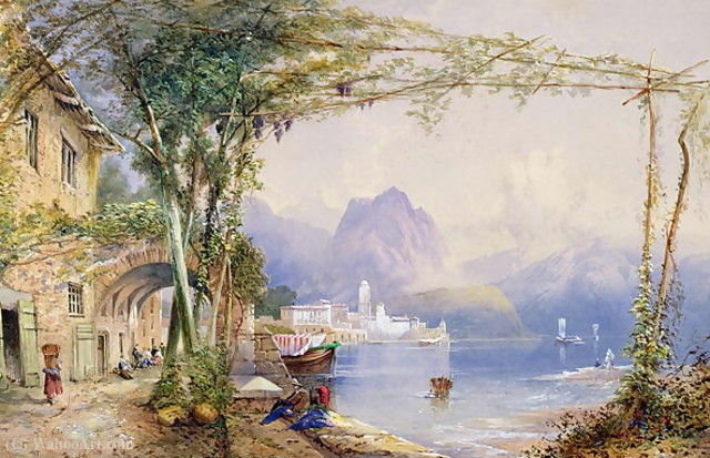 意大利的湖现场 通过 Thomas Charles Leeson Rowbotham (1782-1853, United Kingdom)
