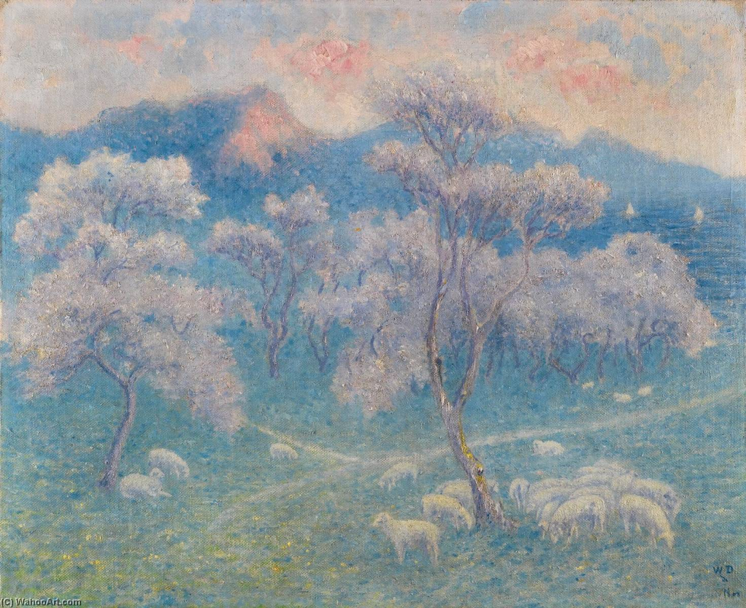 Moutons 奥克斯 amandiers酒店 通过 William Degouve De Nuncques (1867-1935) | 手工油畫 William Degouve De Nuncques | ArtsDot.com