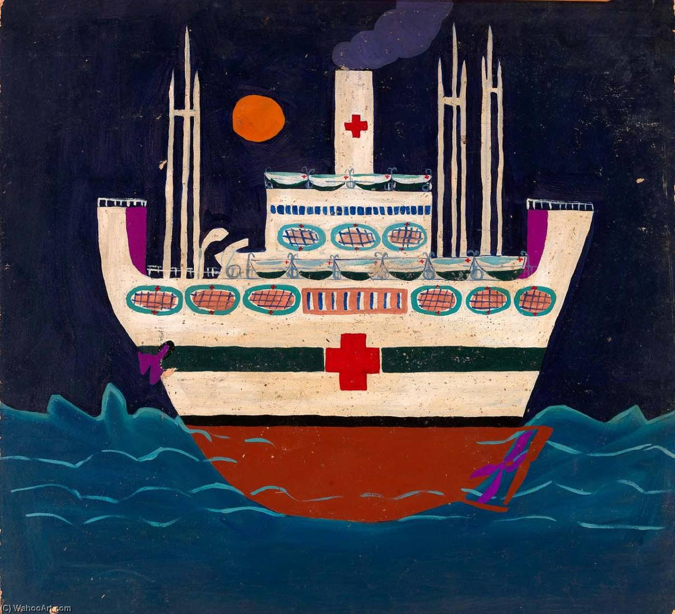 Mercyship, 1945 通过 William Henry Johnson (1901-1970, United States) | 傑作拷貝 | ArtsDot.com